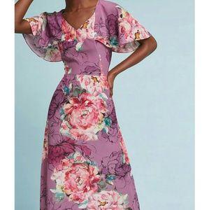 NEW Anthropologie Kachel Galena Silk Floral Dress